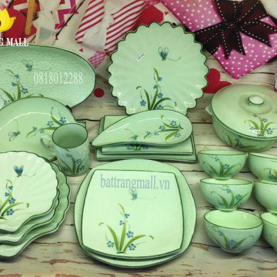 Bát đĩa Bát Tràng men xanh ngọc vẽ Đào Chuồn.
