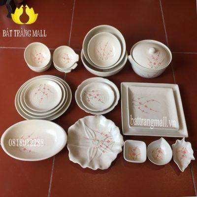 Bát Đĩa Bát Tràng men kem vẽ hoa Đào, 23 món.