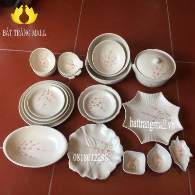 Bát Đĩa Bát Tràng men kem vẽ hoa Đào, 22 món.