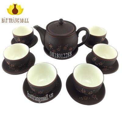 Ấm trà Gốm Tử Sa mầu nâu lòng trắng hoa Đào.
