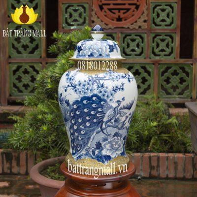 Chóe Công Đào vẽ tay men Lam truyền thống bọc đồng vàng sang trọng.