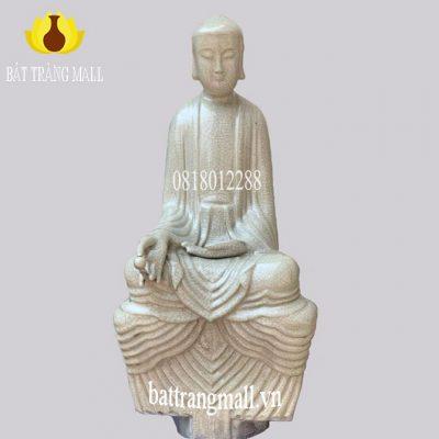 Tượng Gốm Bát Tràng Đức Phật tọa thiền men rạn cổ