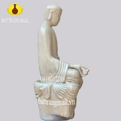 Tượng Phật tọa thiền Gốm Bát Tràng men rạn cổ