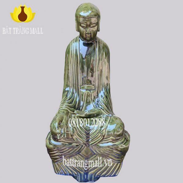 Tượng Phật tọa thiền Gốm Bát Tràng men đồng xanh bóng.