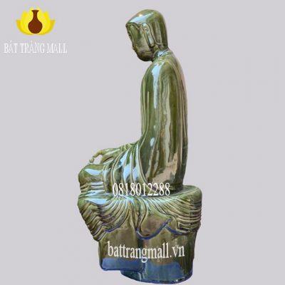 Tượng Gốm Sứ Đức Phật tọa thiền Gốm Bát Tràng men đồng xanh bóng.
