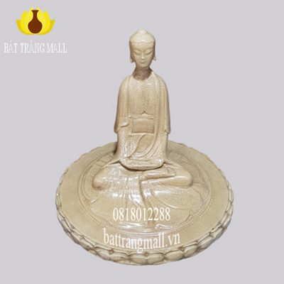 Tượng Sứ Bát Tràng Đức Phật tọa thiền đài Sen men rạn