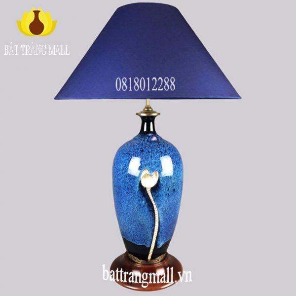 Đèn ngủ Gốm Sứ Bát Tràng khắc hoa sen men hỏa biến xanh
