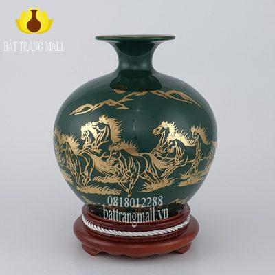 Bình Phú Quý Bát Mã vẽ vàng kim 24k.